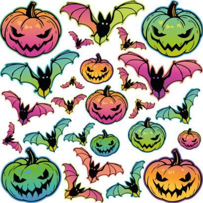 Vinilo para Pared Halloween Calabazas y Murciélagos