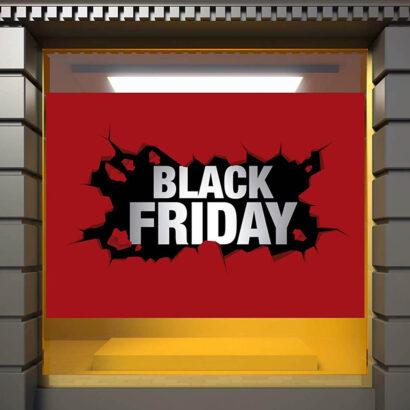 Vinilo Escaparate Black Friday Fondo Rojo