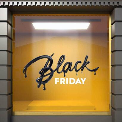 Vinilo Escaparate Black Friday Letras Blancas y Negras