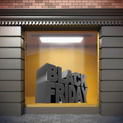 Vinilo Escaparate Black Friday Rebajas Texto Gris